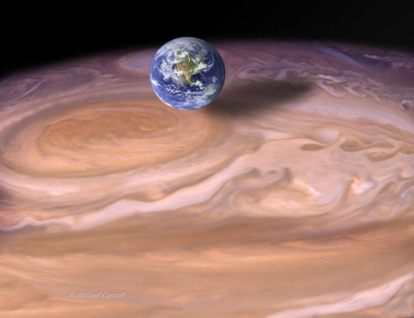 Jupiter's Great Red Spot is a cyclone that's presently about 1.2 times as big as Earth. As recently as 1979, it was twice Earth's diameter as illustrated here.  Photomontage ©Michael Carroll